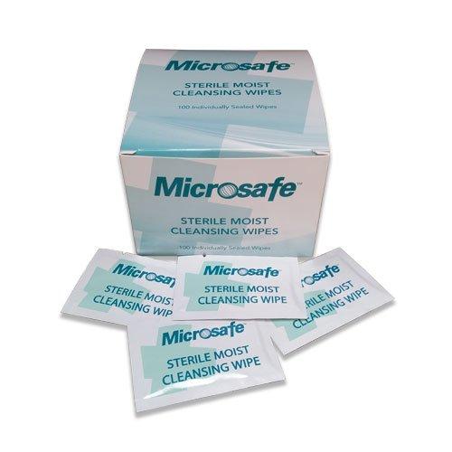 Microsafe Sterile Saline Moist Wipes - Box of 100