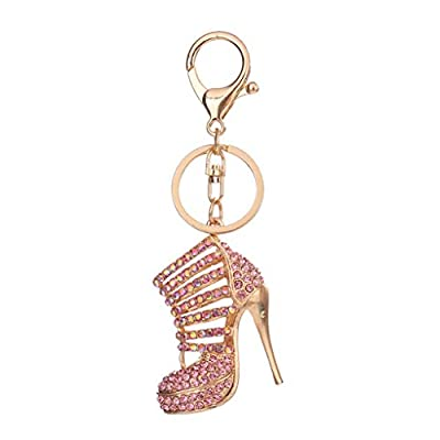 Acamifashion Shiny Rhinestone High Heel Shoe Pendant Key Chain Ring Bag Purse Wallet Decor
