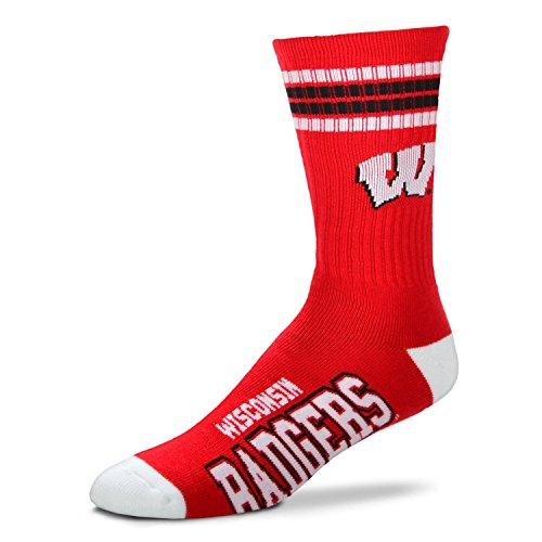 Wisconsin Badgers Ncaa Stripes - For Bare Feet Mens NCAA 4 Stripe Deuce Crew Socks, Wisconsin Badgers, Medium (5-10)