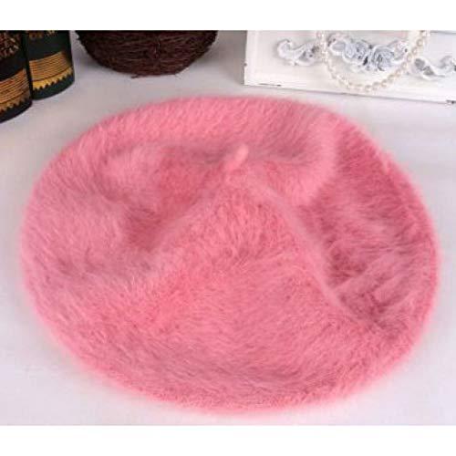 Winter Women Pearl Beret Hats Rabbit Hair Knitted Berets Winter Warm Cap