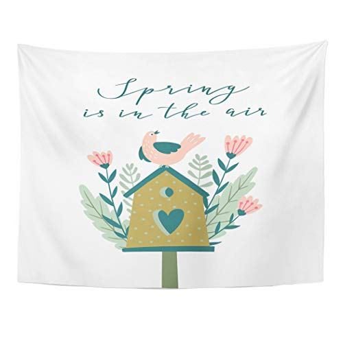 Tarolo Decor Wall Tapestry Drawn The Blossoming Nesting Box Spring is in Air Cute Season Greetings Birds Feeder House 60 x 50 Inches Wall Hanging Picnic for Bedroom Living Room Dorm