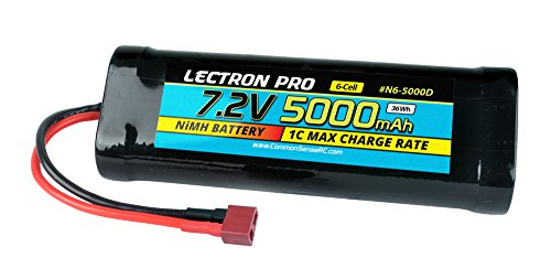 Lectron Pro NiMH 7.2V 6-Cell 5000mAh Flat Pack with Deans-Type Connector for 1/10 Scale Cars, Trucks, and ()