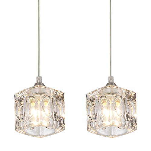 COTULIN Set of 2 Modern Living Room Dining Room Bedroom Crystal Pendant Light,Pendant Light Fixture with Crystal - Pendant Crystal 2 Light