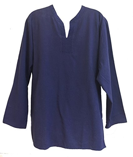 Yak & Yeti Tunic Hand-Loomed Cotton Kurta Split Neck Shirt (Large, (Large Blue Kurta)