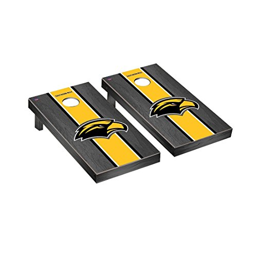 University of Southern Mississippi USM Golden Eagles Cornhole Game Set Onyx Stained Stripe Version (Southern Mississippi Eagles Framed Golden)