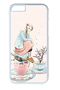 Anime Girl With Cup Cute Hard Cover For iPhone 6 Plus Case ( 5.5 inch ) PC White Cases in GUO Shop