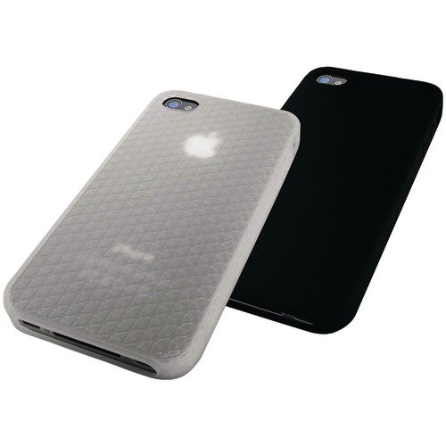 New - PHILIPS iPHONE 4 Shockstop Jam Jacket, 2 PK (CLEAR/BLACK) - DLM4313/17 (Philips Jacket Jam)