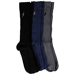 3 Pairs Mens Pima Cotton Over The Calf Dress Socks, Ribbed Textured Socks One Size Pack A