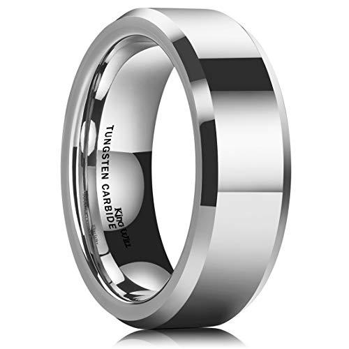 King Will Basic Men 7mm Tungsten Carbide Wedding Ring Shiny Finish Plain Beveled Edge Engagement Band 7.5