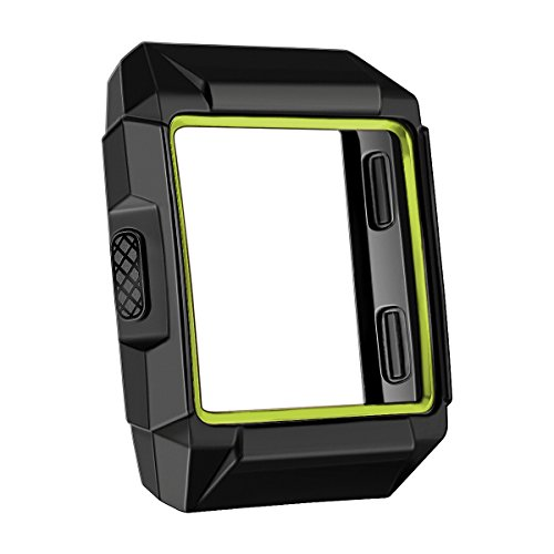 bayite Tup Case Compatible Fitbit Ionic, Rugged Protector Cover Protective Frame Shock Resistant Shell, Black/Green