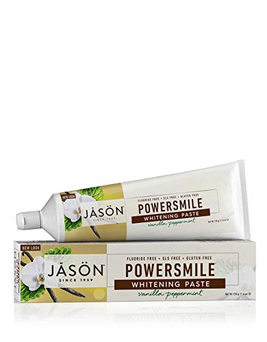 Natural Whitening All Powersmile Toothpaste - JASON Powersmile Whitening Fluoride-Free Toothpaste, Vanilla Mint, 6 Ounce Tube