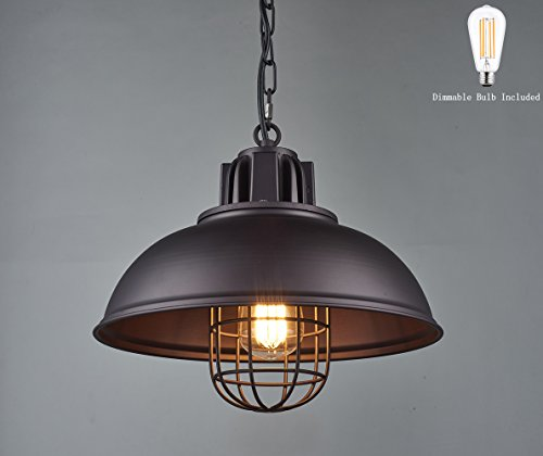 - Light Industrial Metal Pendant Lighting, Oil Rubbed Bronze Finish Pendant,Dimmable LED Bulb Included,W13×H 67.3 inches