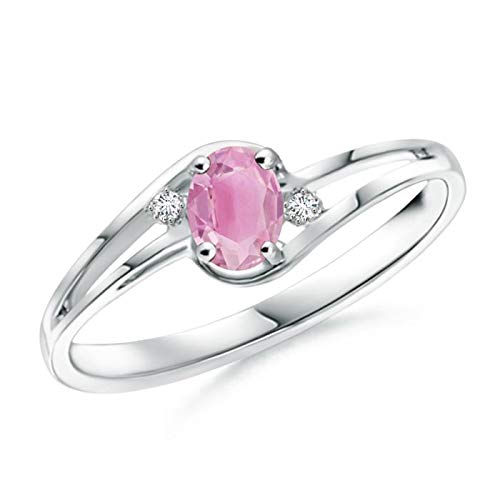Pink Tourmaline and Diamond Split Shank Ring in Silver (5x3mm Pink Tourmaline)