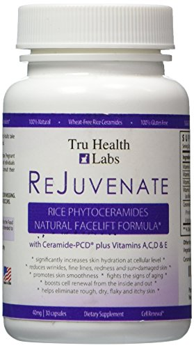 * NEW Premium Formula * REJUVENATE Anti Aging Rice Phytoceramides Plant Derived Capsules - BEFORE/AFTER PICS - 100% Gluten Free - Biotin & Kiwi Seed Extract for Healthy Hair, Skin & Nails - Patented Skin Renewal - Advanced Hydration - Risk Free Guarantee …