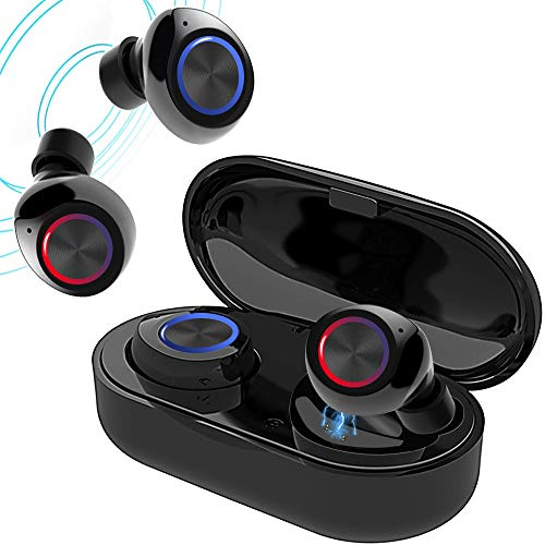 True Wireless V5.0 Bluetooth Earbuds,Waterpoof LED Sports in-Ear Headphones, HD Sound Earphone with Charging Case (Black)