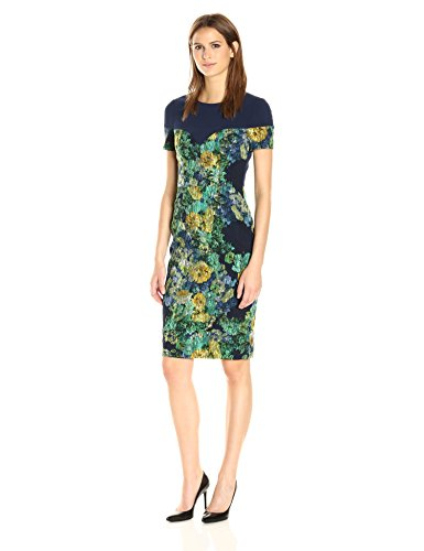 Black Halo Women's Marlowe Printed Jacquard Sheath Dress, Musk Rose, 6