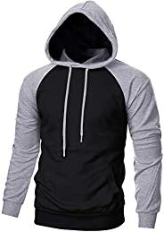 EKLENTSON Mens Sweatshirt Color Block Casual Lightweight Hoodies Outdoor Athletic Pullover