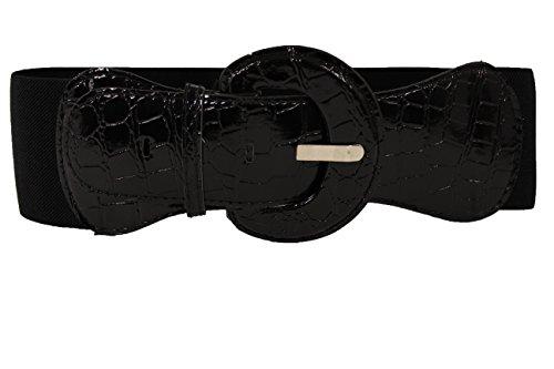 Sexy Black Belt (TFJ Women's Wide Elastic Fashion Belt Hip Waist Silver Buckle S M Faux Leather)