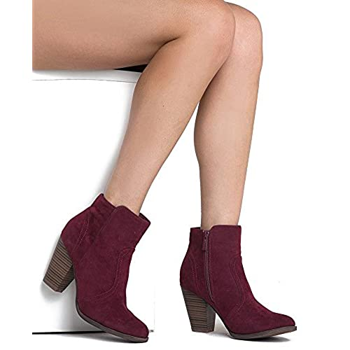 576a331acc481 Breckelles Women's HEATHER-34 Faux Suede Chunky Heel Ankle Booties Wine 6  well-wreapped