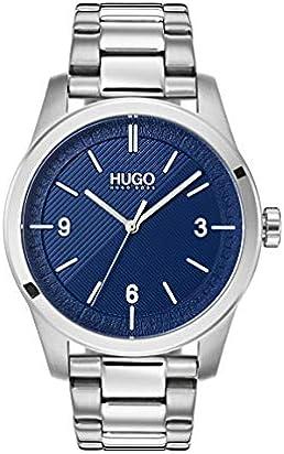 Hugo Men's #Create Quartz TR90 and SS Bracelet Casual Watch, Color: Blue (Model: 1530015)