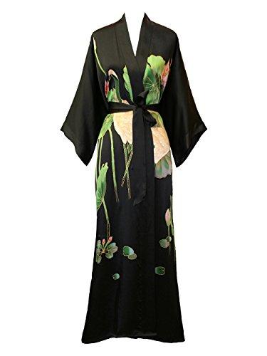 Silk Black Belt (Old Shanghai Women's Silk Kimono Long Robe - Handpainted - Crane)