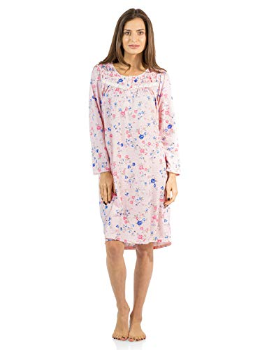 Casual Nights Women's Floral Pintucked Long Sleeve Nightgown - Pink - Small (Nightgown Pintucked)