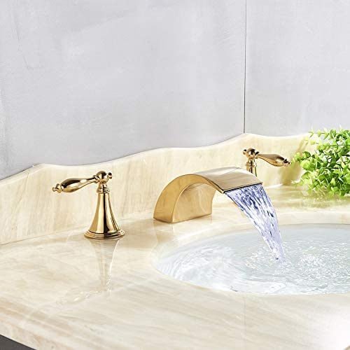 Votamuta Polished Gold LED Light Faucet Waterfall Spout 8-Inch Two Handles Three Hole Basin Sink Vanity Faucet Widespread Deck Mounted
