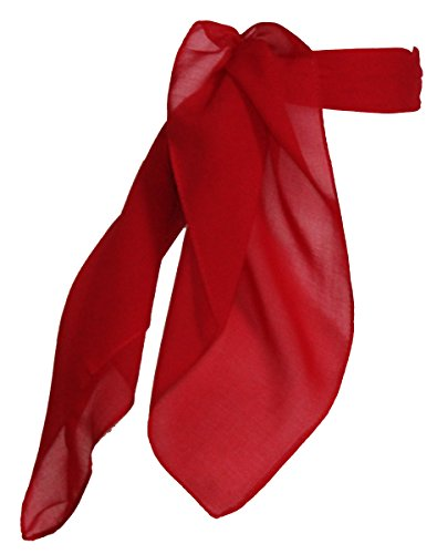 [Sheer Chiffon Scarf Vintage Style Accessory for Women and Children, Red] (Fifties Outfit)