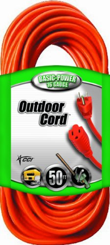 Coleman Cable 23088803 02308 16/3 Vinyl Outdoor Extension Cord, Orange, 50-Feet