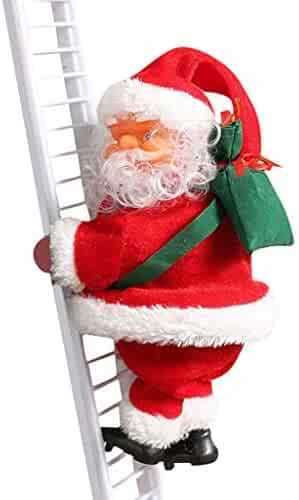 I613 Electric Santa Claus Climbing Ladder Doll Decoration Plush Doll Toy for Xmas Party Home Door Wall Decoration