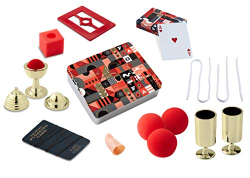 FAO Schwarz 8 Piece Toy Magic Trick Set for Kids, Easy to Learn Kit Comes with Playing Cards, Floating Card Trick, Fake Fingers, Coin and Ball Cups, & Instruction Book with 40+ Tricks, Gift Tin from FAO Schwarz