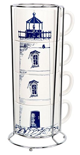 Stacking Set of Lighthouse Mugs with Metal Storage