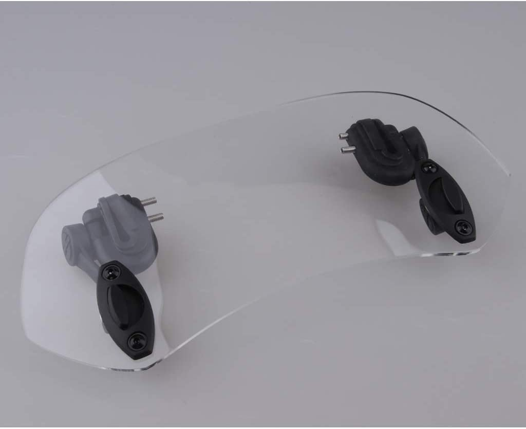 Homyl 280mm Universal Motorcycle Clamp-On Wind Deflector Windscreen SpoilerShield Clear
