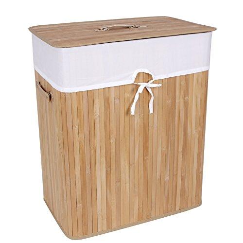 Songmics faltbar Bambus Wäschekorb 100 L (62,5 x 52 x 32 cm) Wäschebox mit Wäschesack zum Herausnehmen braun LCB63Z