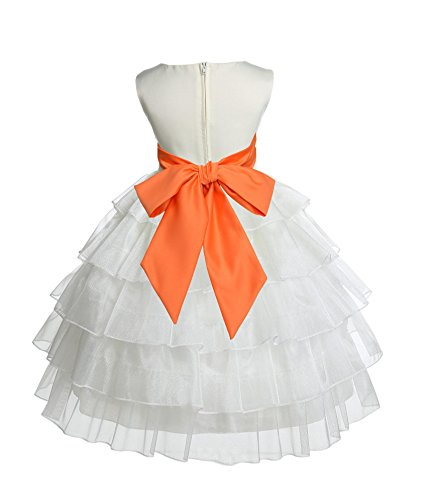 Ivory Organza Flower Girl Dresses - Wedding Pageant Ivory Tired Organza Flower