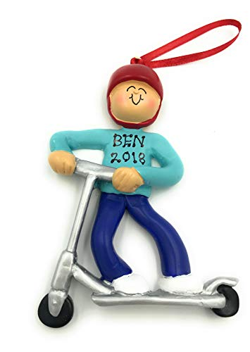 Personalized Boy Kid Riding Scooter Christmas Ornament 2019