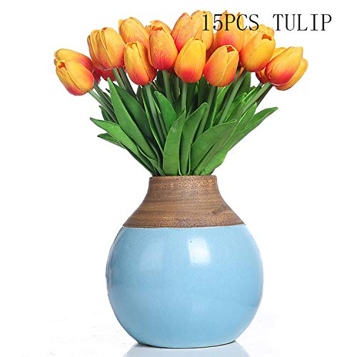 Artificial Fowers Artificial Pu Tulips Artificial Flowers Real Touch Artificiales para Decora for Home Wedding Decoration Flowers,Sunset Red2]()