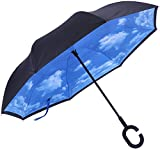 Marino Upside Down Umbrella – Reverse Folding Inside Out Umbrella – Unbreakable – Sky