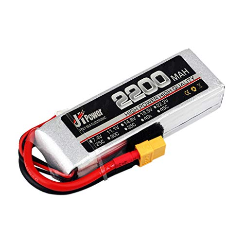 Elaco 11.1V 2200mAh 3S-25C XT60 Plug Rechargeable Lithium Polymer Battery for RC Model Helicopter Quadcopter Drone ()