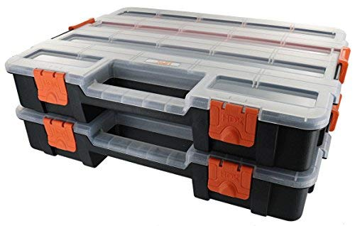 HDX 320034 Interlocking Black Small Parts Organizer for Fasteners and Crafts w/ Removable Dividers (2 Pack)
