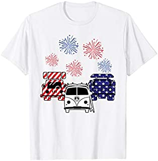 Red White BLue Camping Van Camper Firework 4th Of July T-shirt | Size S - 5XL