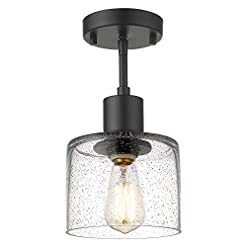 Farmhouse Ceiling Light Fixtures LMS Semi Flush Mount Ceiling Light, Modern Farmhouse 1-Light Ceiling Light Fixture in Matte Black Finish with Seed Glass… farmhouse ceiling light fixtures