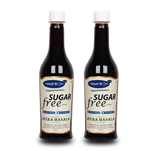 Sugar Free Jeera Masala Syrup – Pack of 2 (500 ml Each) – Zero Calorie, Diabetic Friendly, Keto Friendly – by Newtrition Plus
