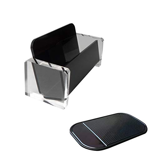 Enyuwlcm Acrylic Desktop Business Card Holder Display for Desk Elegant Business Card Stand for Office Black/Clear with One Non-Slip Mat (Sticky)
