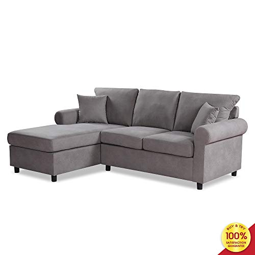 Sectional Sofa Set, 2 Pieces 3 Seaters Modern Linen Fabric L-Shaped Couch, Perfect for Living Room Furniture, Gray (Couch Gray L Shaped)