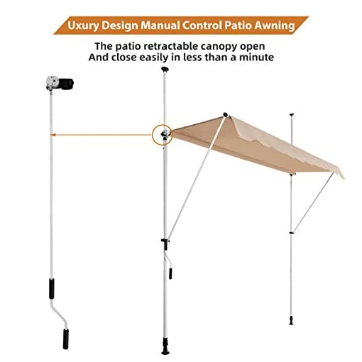"""Garden and Outdoor AECOJOY 78""""×47""""Manual Retractable Awning Patio Awning Sun Shade Awning Cover Outdoor Patio Canopy Sunsetter Deck Awnings… patio awnings"""