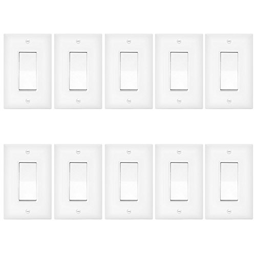 ENERLITES 3-Way Decorator Paddle Rocker Light Switch with Wall Plate, Single Pole or Three Way, 3 Wire, Grounding Screw, Residential Grade, 15A 120V/277V, UL Listed, 93150-WWP-10PCS, White (10 Pack) - Grade Wall Switch