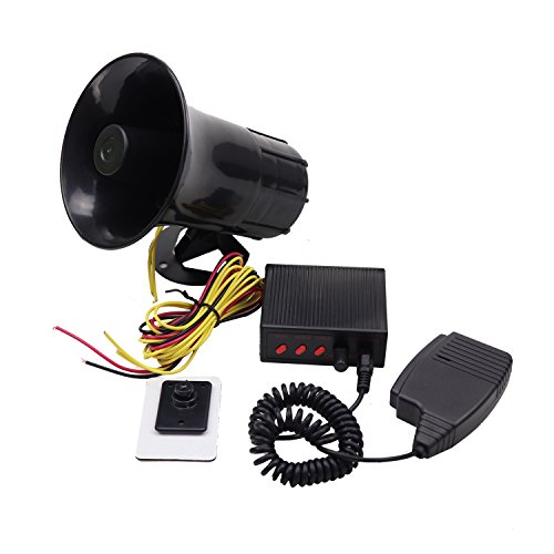 YHAAVALE 50W Car Police Siren Speaker,3 Tone Sound,DV12V,Volume Adjustment,Car Horn Vehicle Horn With Mic Loudspeaker Emergency Electronic PA System