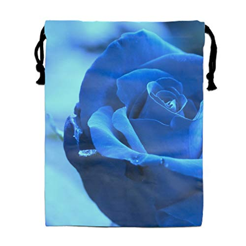 (Party Favors Supplies Bags for Girls, 1 Pack Kids Drawstring Backpack with Glowing Blue Roses)