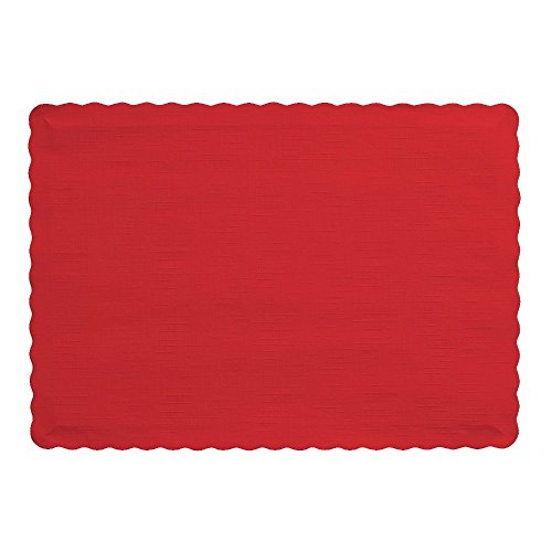 Creative Converting Touch of Color Paper Placemats, Classic Red (100 Count)
